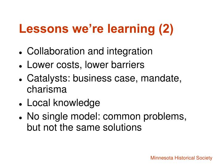 Lessons we're learning (2)