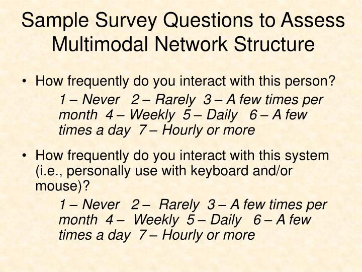 Sample Survey Questions to Assess Multimodal Network Structure