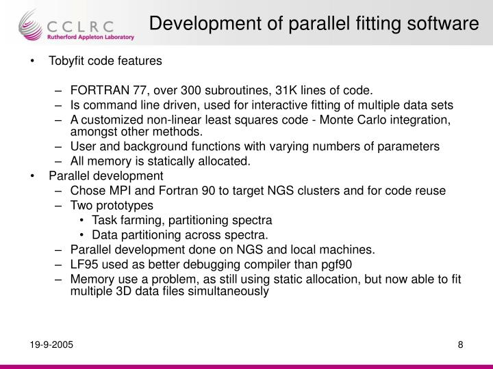 Development of parallel fitting software