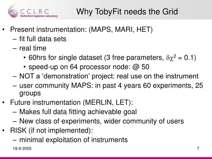 Why TobyFit needs the Grid