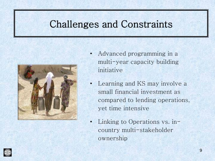 Challenges and Constraints