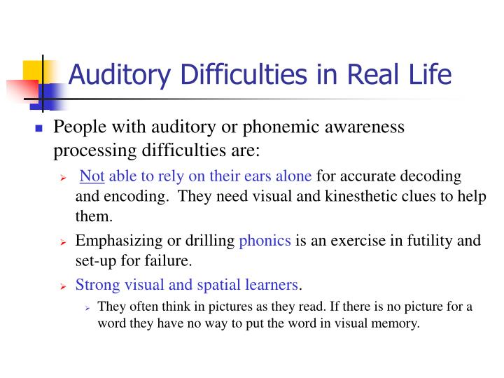 Auditory Difficulties in Real Life