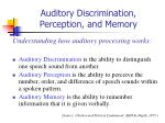 auditory discrimination perception and memory