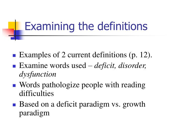 Examining the definitions