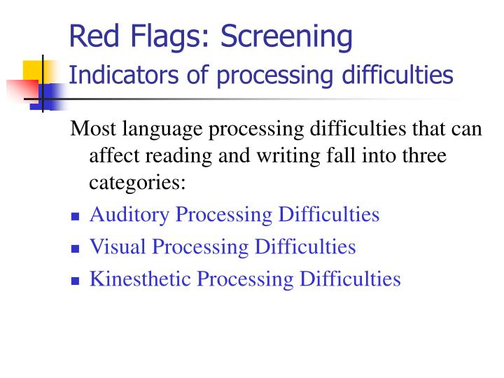 Red Flags: Screening