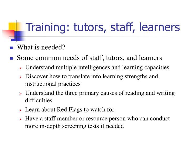 Training: tutors, staff, learners