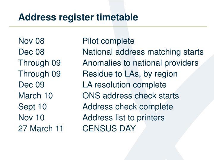 Address register timetable