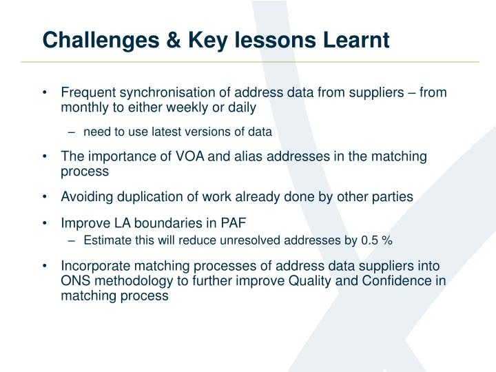 Challenges & Key lessons Learnt