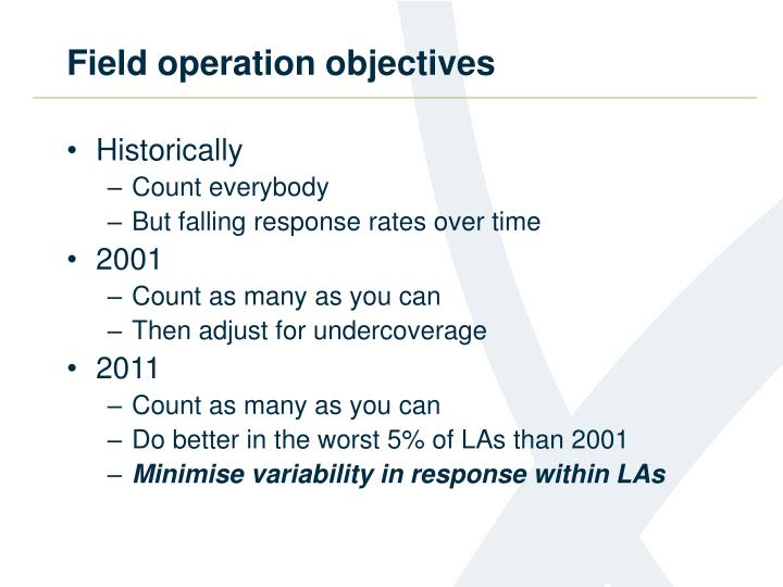 Field operation objectives