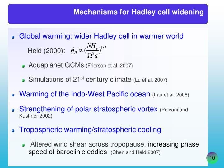 Mechanisms for Hadley cell widening