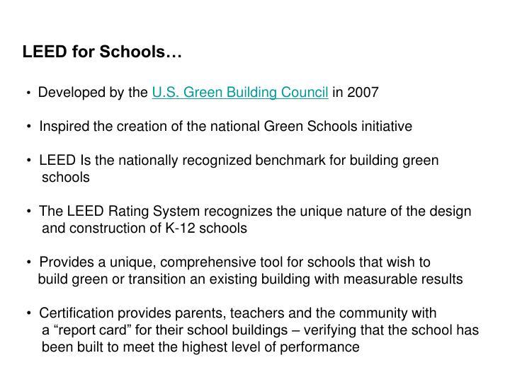 LEED for Schools…