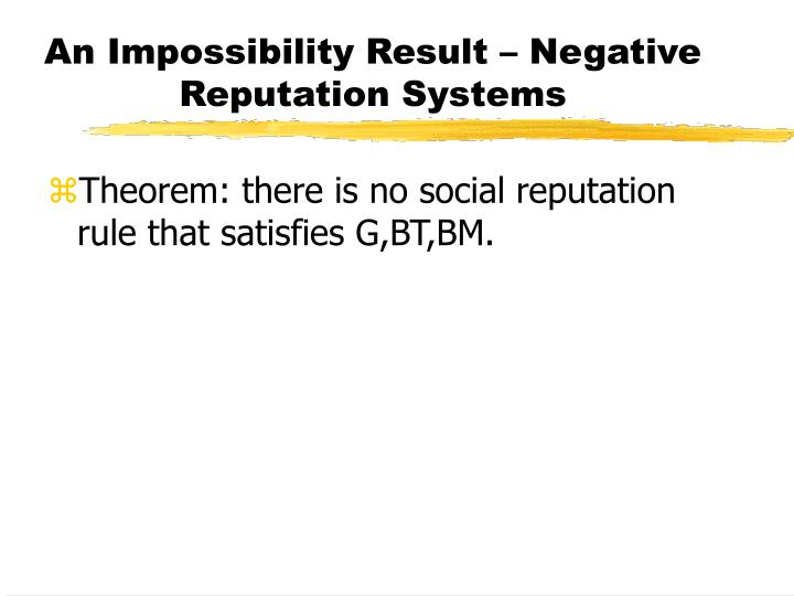 An Impossibility Result – Negative Reputation Systems