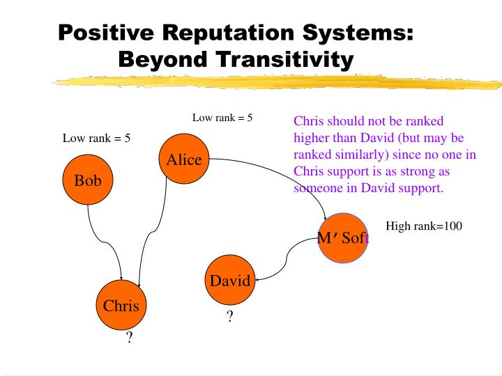 Positive Reputation Systems: Beyond Transitivity