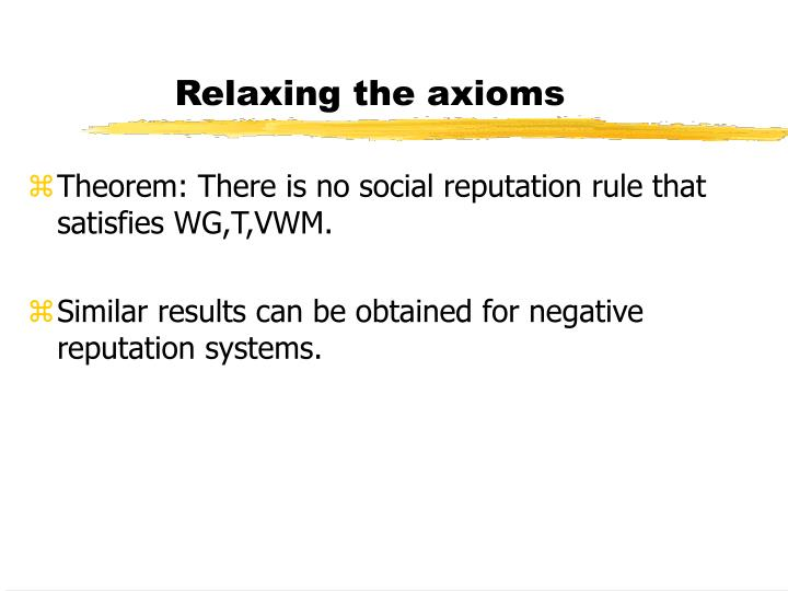 Relaxing the axioms