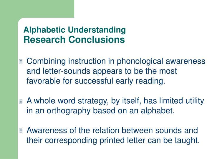 Alphabetic Understanding