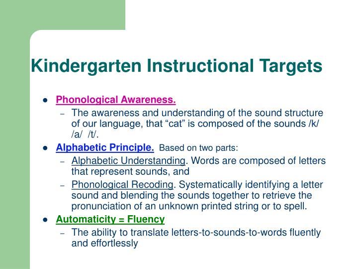 Kindergarten Instructional Targets