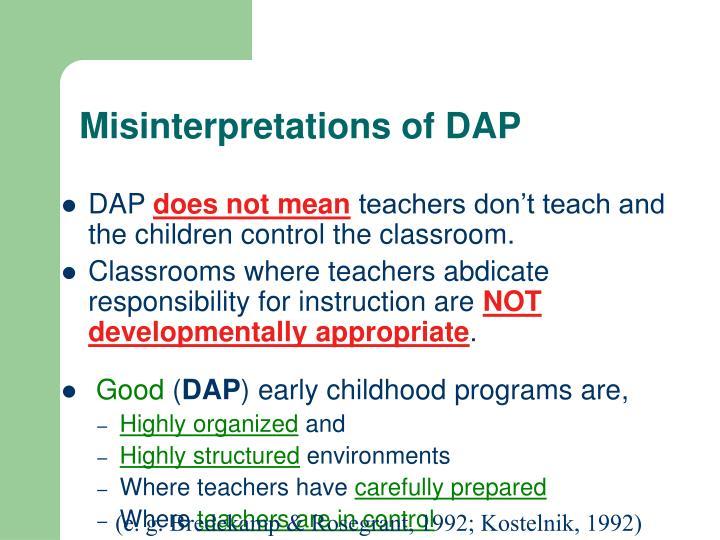 Misinterpretations of DAP