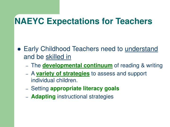 NAEYC Expectations for Teachers