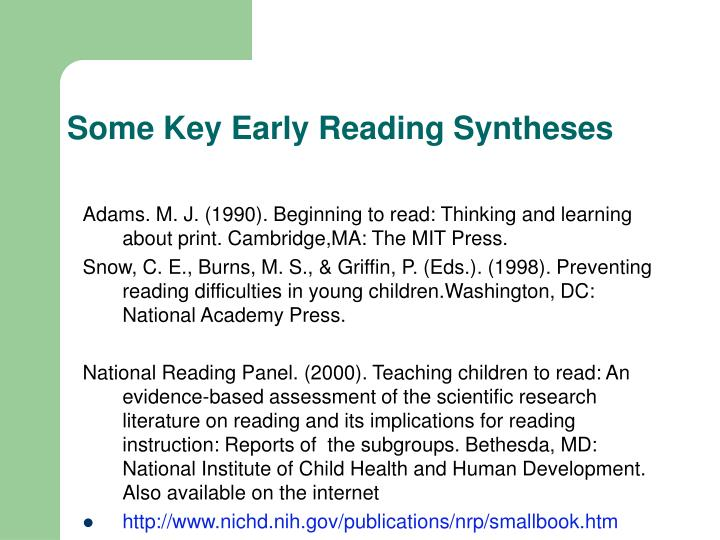 Some Key Early Reading Syntheses