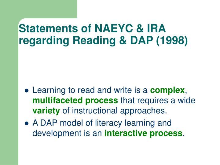 Statements of NAEYC & IRA regarding Reading & DAP (1998)