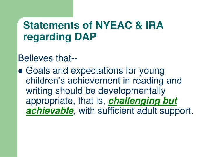 Statements of NYEAC & IRA regarding DAP
