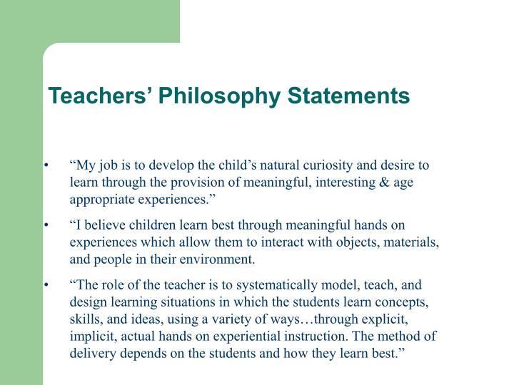 Teachers' Philosophy Statements