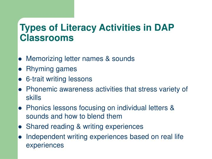 Types of Literacy Activities in DAP Classrooms
