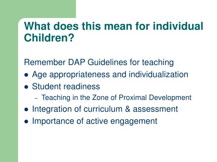 What does this mean for individual Children?