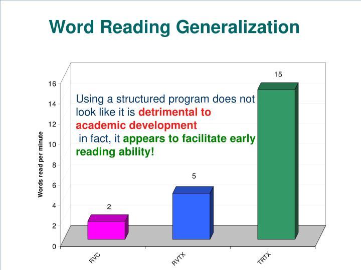 Word Reading Generalization