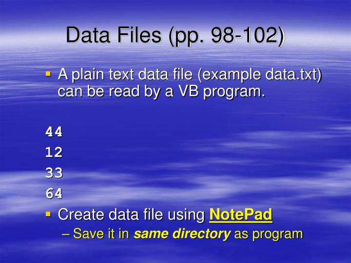 Data Files (pp. 98-102)