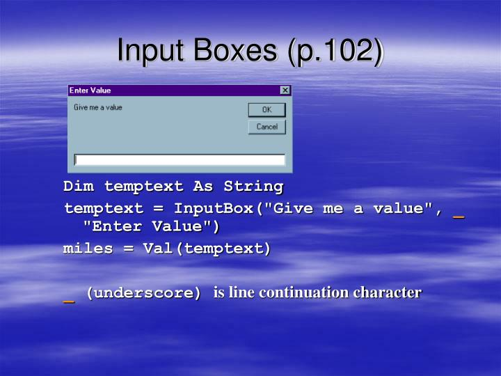 Input Boxes (p.102)