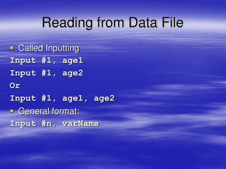 Reading from Data File