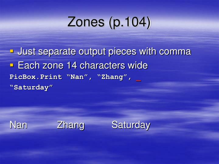 Zones (p.104)