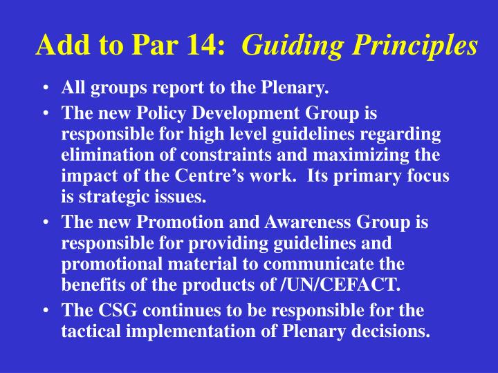 Add to par 14 guiding principles