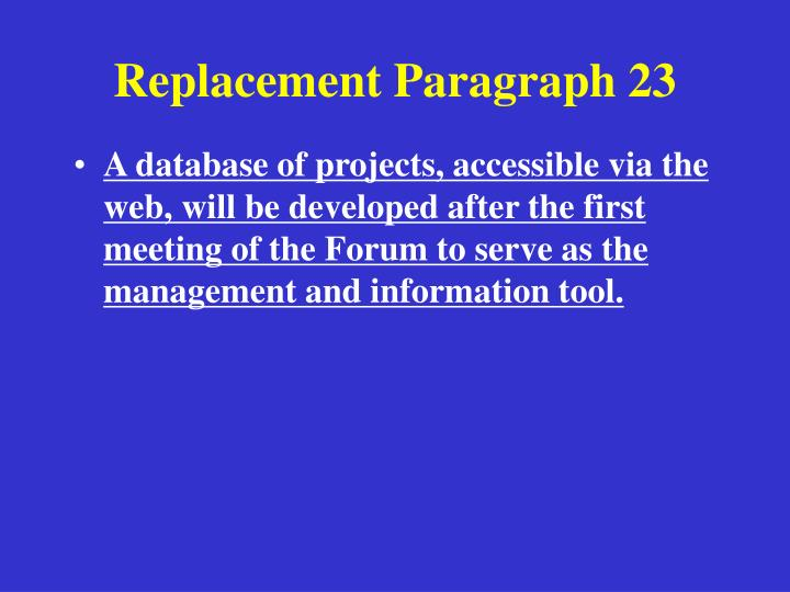 Replacement Paragraph 23