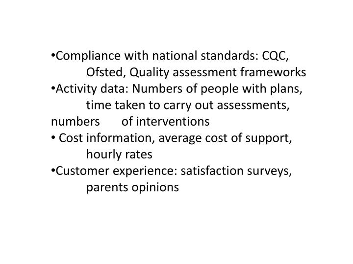 Compliance with national standards: CQC, Ofsted, Quality assessment frameworks