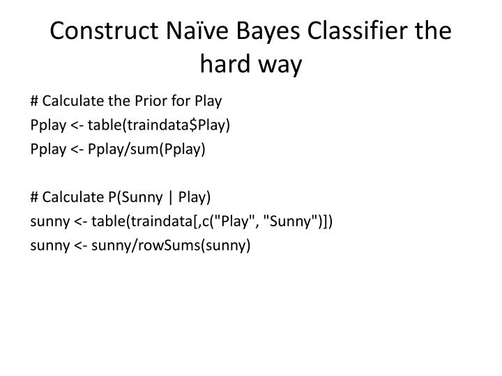 Construct Naïve Bayes Classifier the hard way