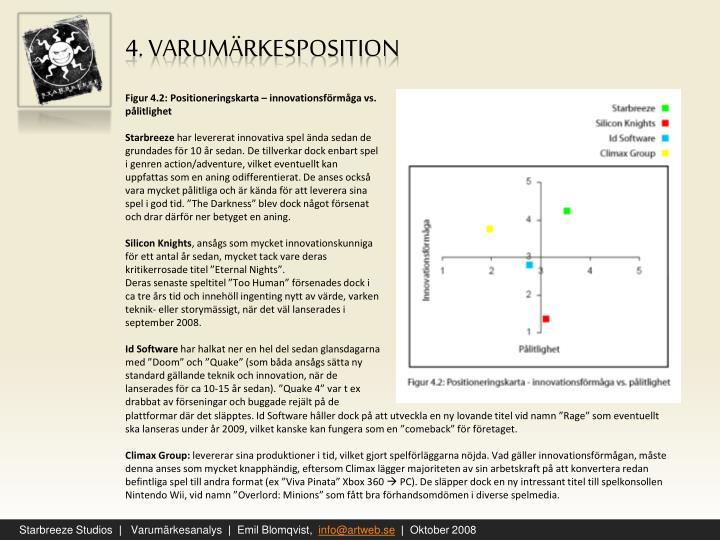 Figur 4.2: Positioneringskarta – innovationsförmåga vs. pålitlighet