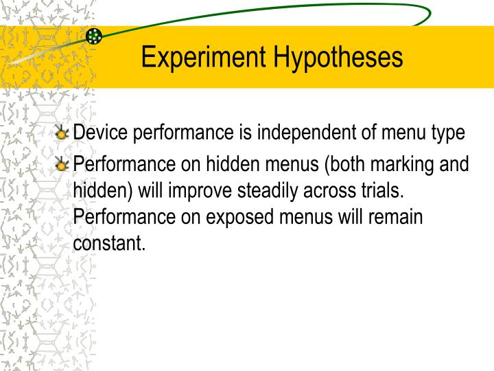 Experiment Hypotheses