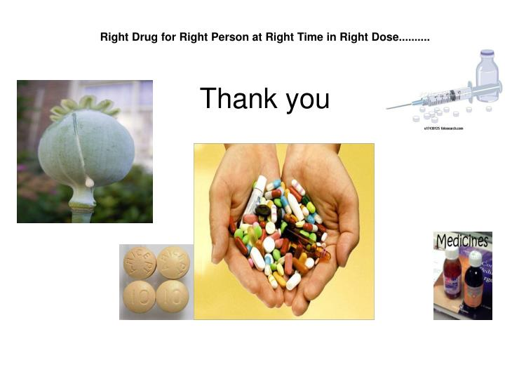 Right Drug for Right Person at Right Time in Right Dose..........