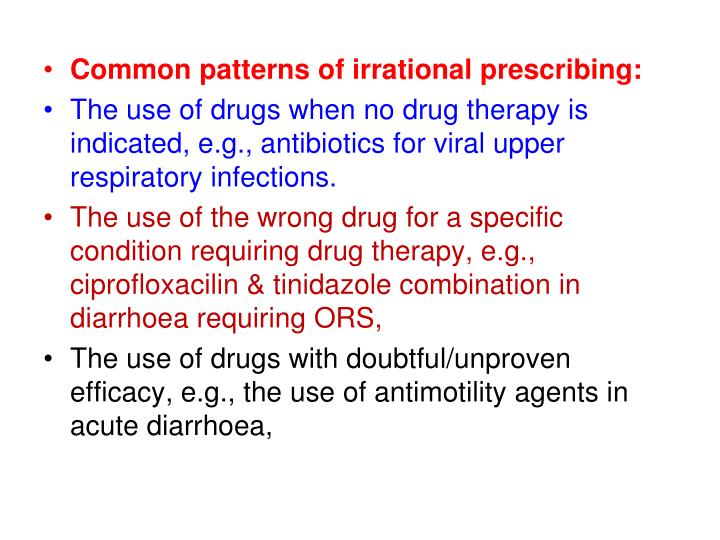 Common patterns of irrational prescribing: