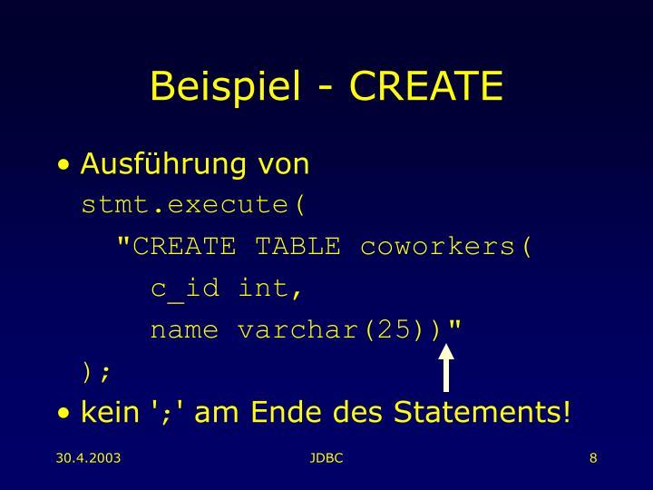 Beispiel - CREATE