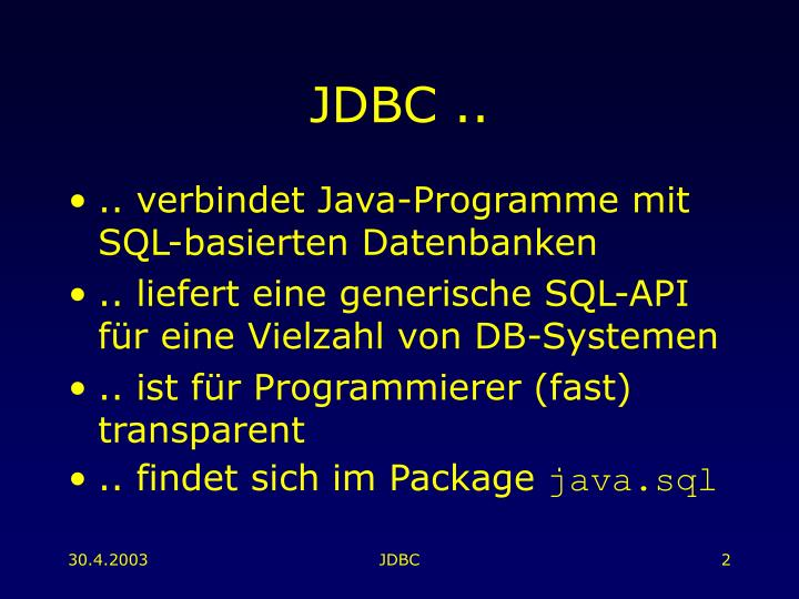 JDBC ..