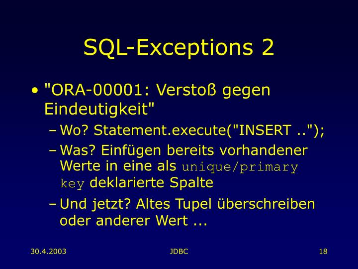 SQL-Exceptions 2
