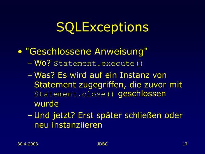 SQLExceptions