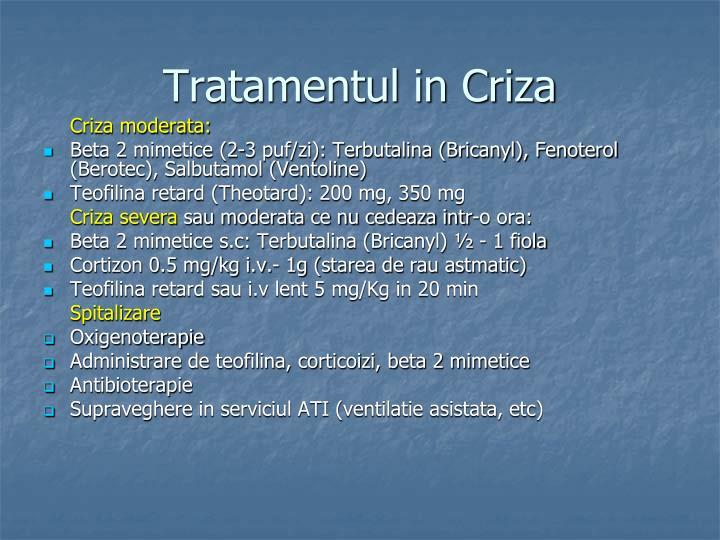 Tratamentul in Criza
