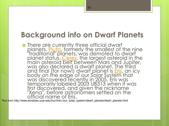 Background info on Dwarf Planets
