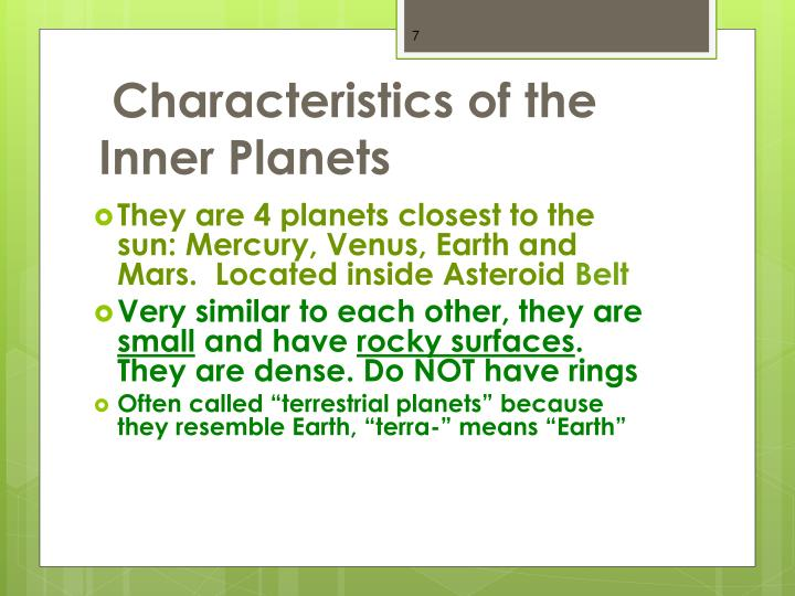 Characteristics of the Inner Planets