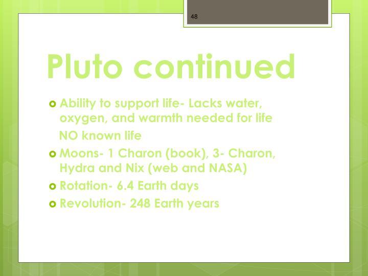 Pluto continued