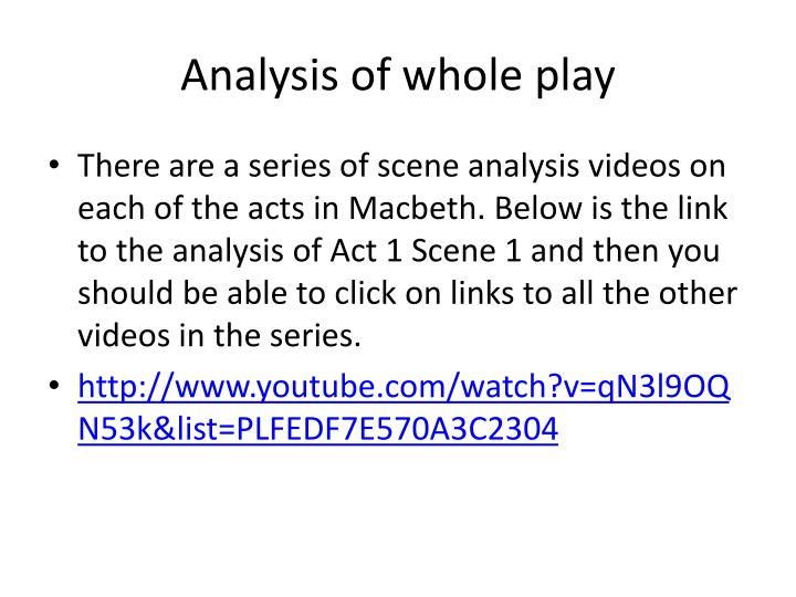 Analysis of whole play